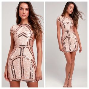 Lulu's Spread Your Shine Rose Gold Sequin Dress